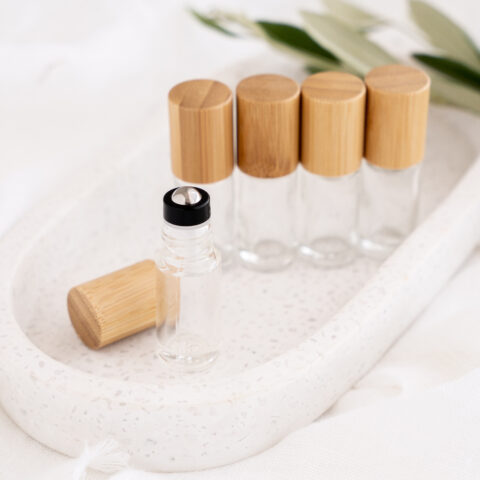 5ml Clear Glass Bamboo Roller Bottle