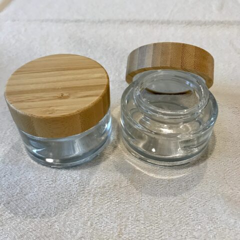 50ml Clear Glass and Bamboo Lid Jar
