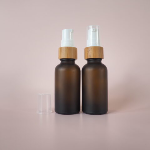 30ml Frosted Amber Bamboo Pump Bottle