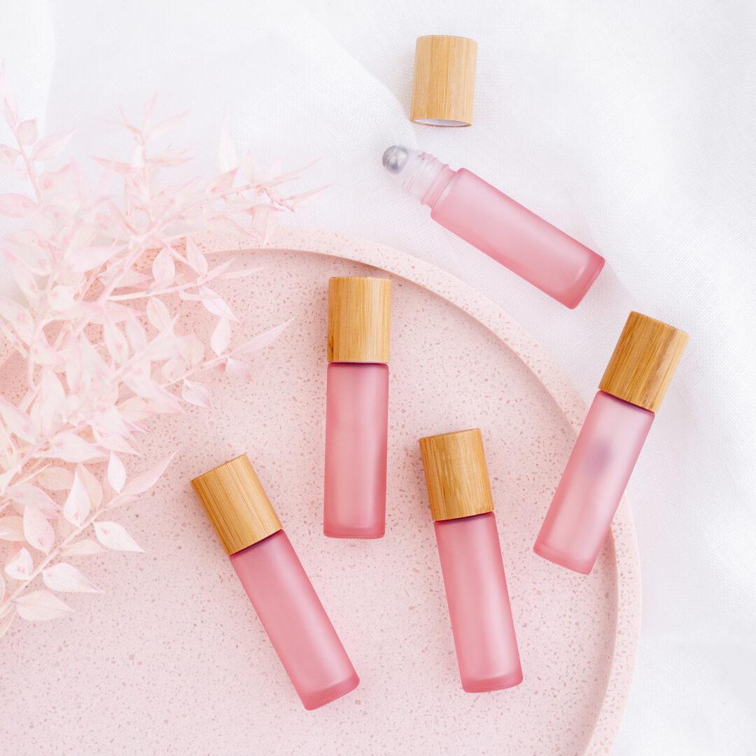 10ml Blush Pink Bamboo Roller Bottles