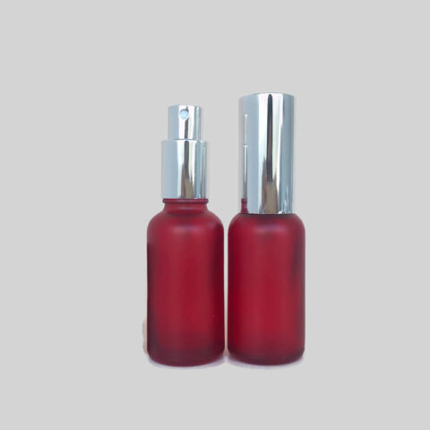 30ml Frosted Red Silver Spray Bottle