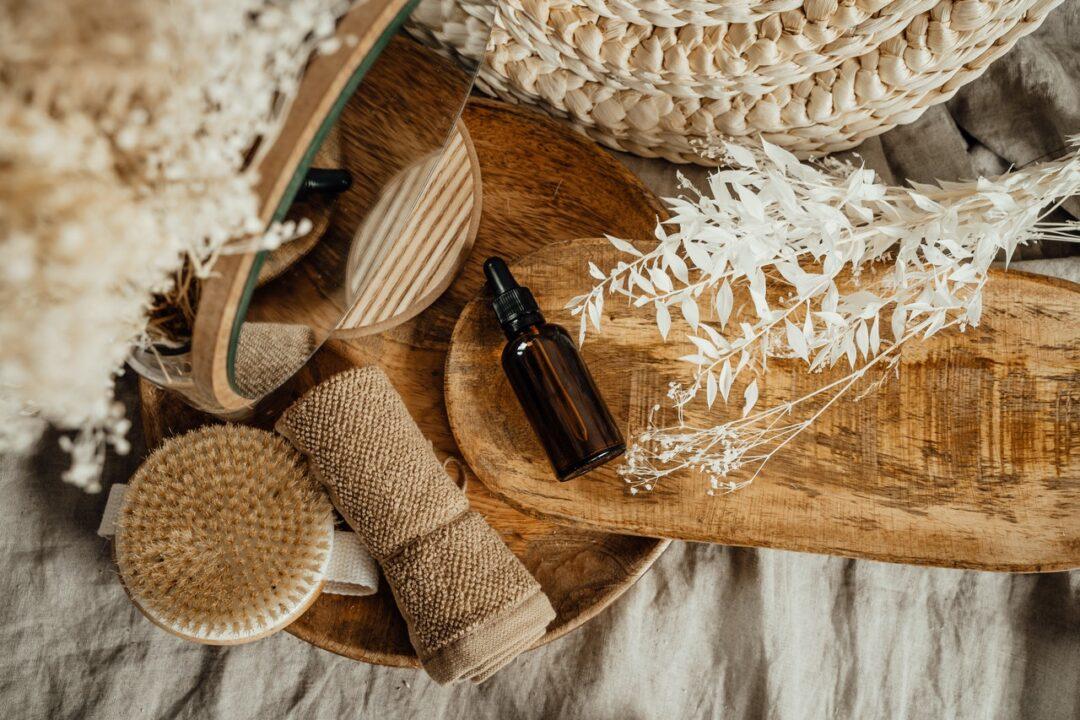 massage oil in bottle
