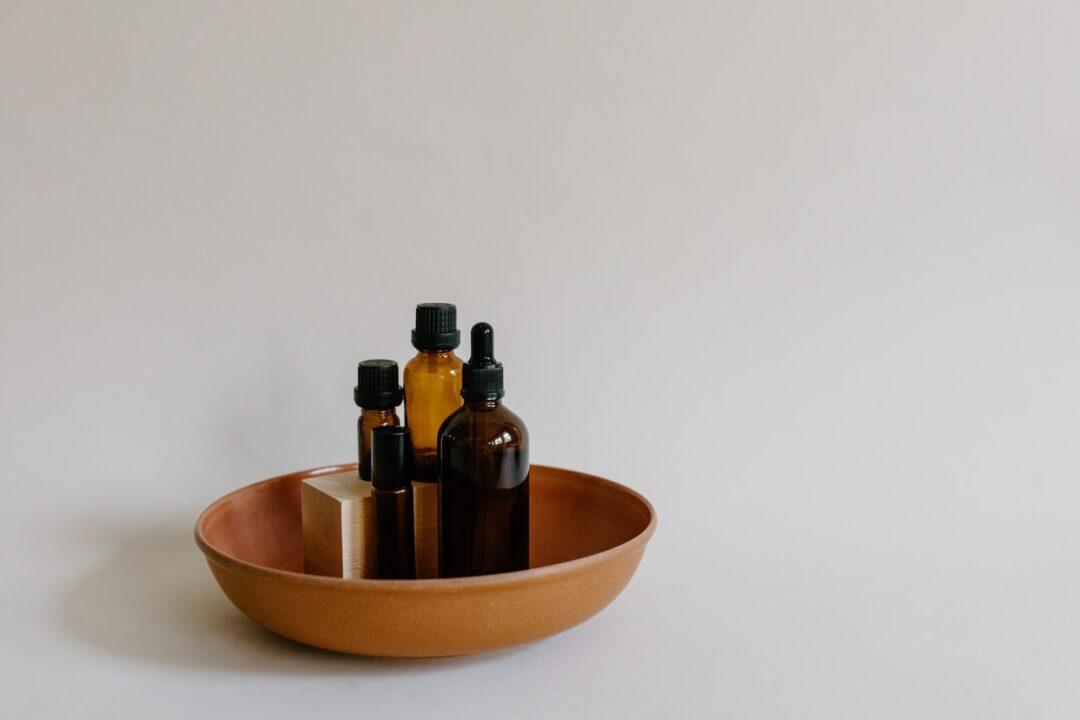 various oils in bottles