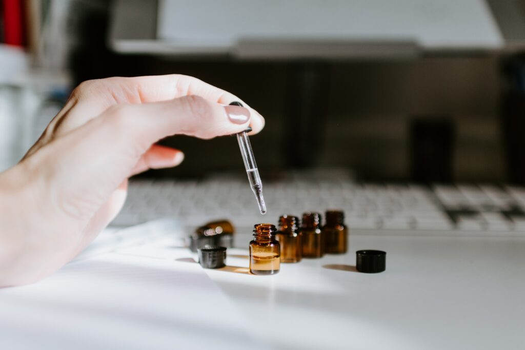 woman with essential oils