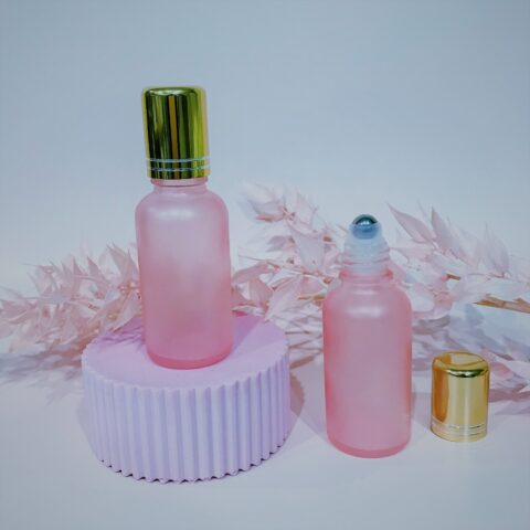 30ml Frosted Pink Roller Bottle GOLD